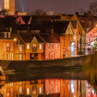River Wensum and houses along the river in Norwich
