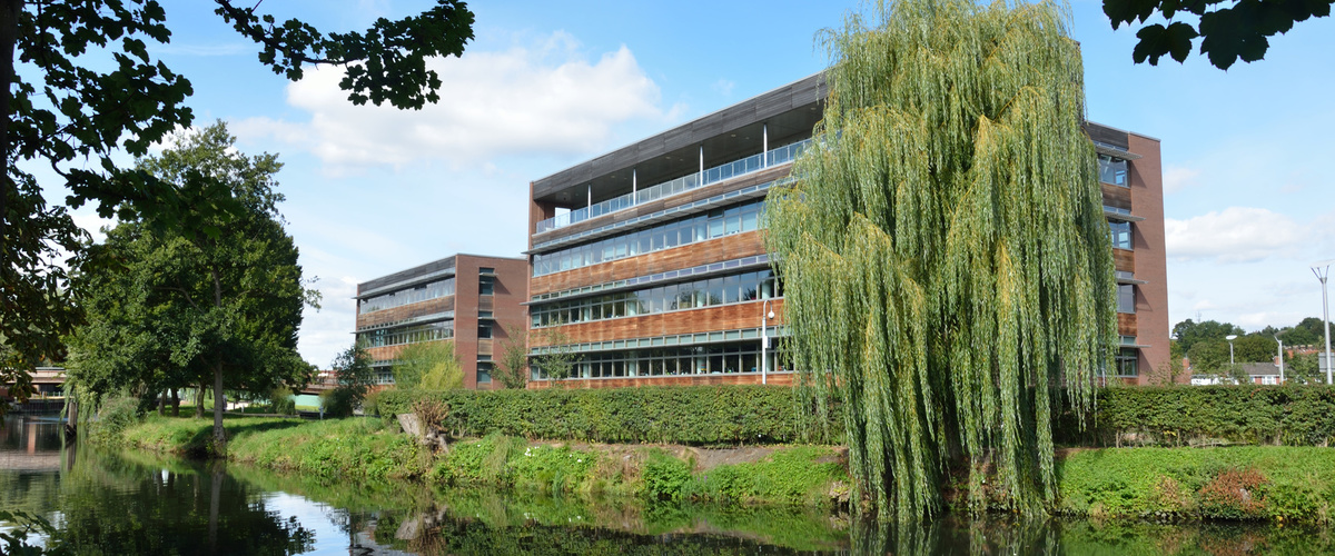 modern riverside office block
