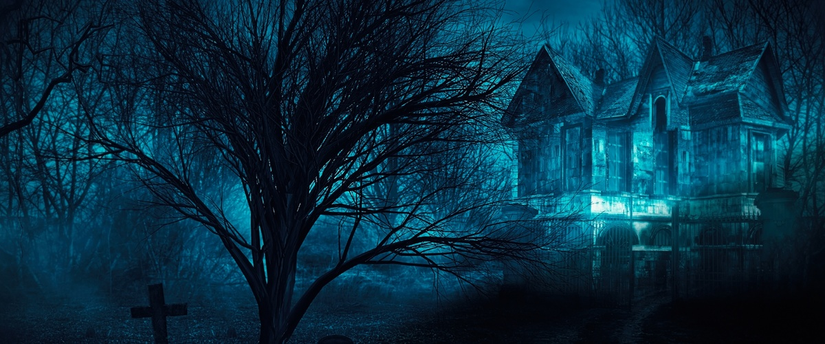 Horror halloween haunted house in creepy night forest.