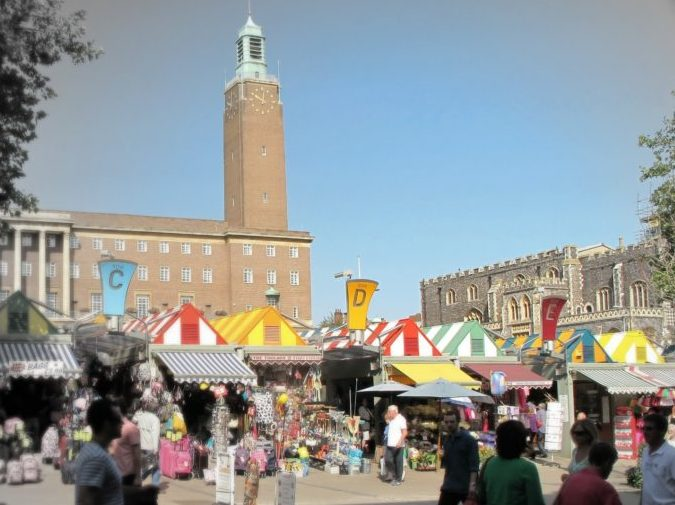 Photo of Norwich Market with City Hall in the background