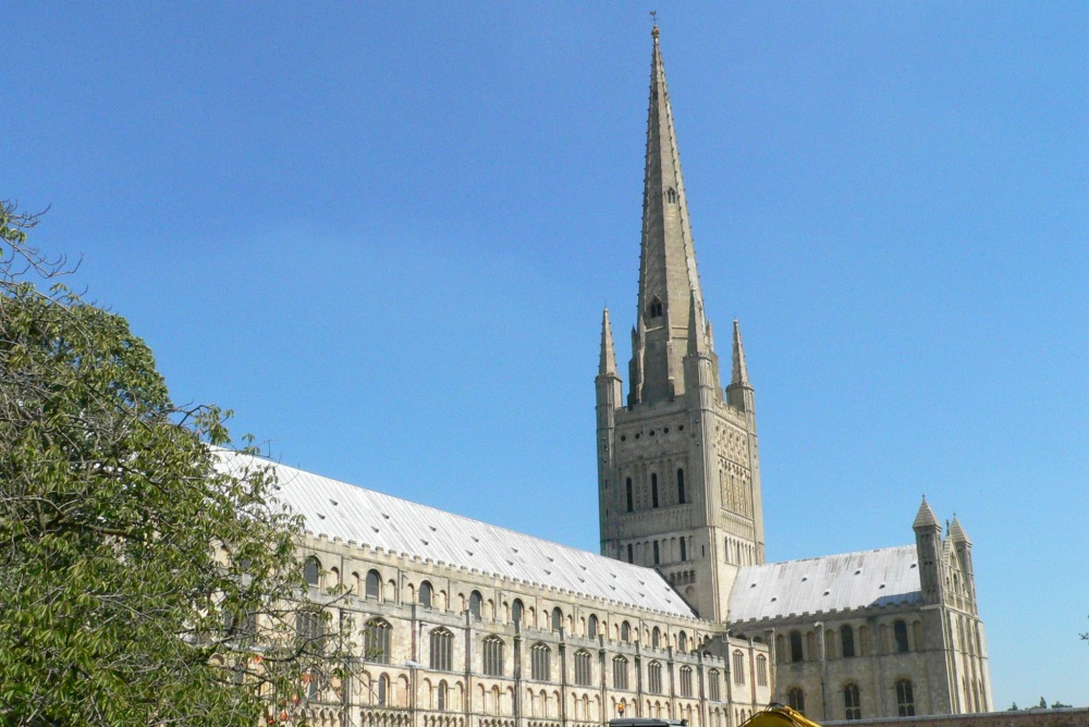Norwich Cathedral with blue sky