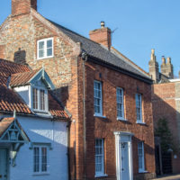 Houses in one of the historic streets in Wymondham, Norfolk
